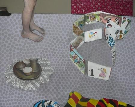 Bazar paměti - leporelo, 140 x 170 cm, akryl na plátně, 2010