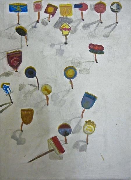 Bazar paměti IX, 25 x 18 cm, akryl na plátně, 2009