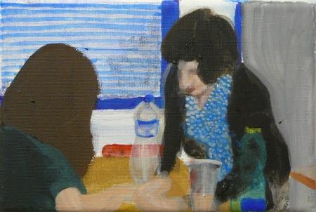 Gympl V, 10 x 18 cm, akryl na plátně, 2008