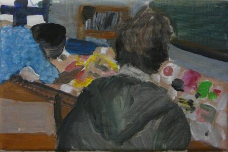 Gympl VI, 10 x 18 cm, akryl na plátně, 2008