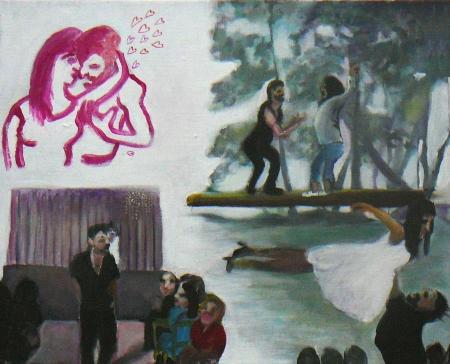 Hříšný tanec, 40 x 50 cm, akryl n aplátně, soukromá sbírka