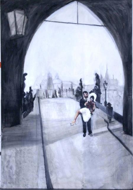 Karlův most, 140 x 90 cm, akryl na plátně, 2004
