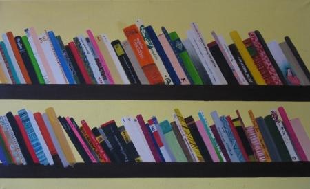 Knihovna, 80 x 120 cm, akryl na plátně, 2004