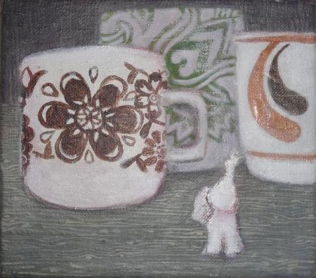 Hrnky, 20 x 20 cm, akryl na plátně, 2009