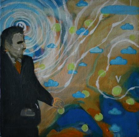 Počasí II, 20 x 20 cm, akryl na plátně