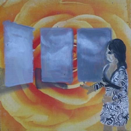 Počasí IV, 20 x 20 cm, akryl na plátně