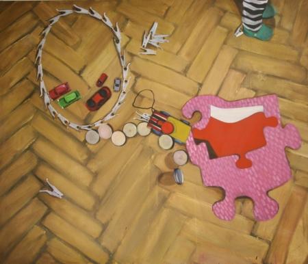 Pokojík II - Dětské hry, 145 x 170 cm, akryl na plátně, 2010