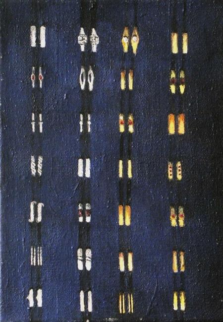 Prstýnky I, 30 x 18 cm, akryl na plátně, 2004