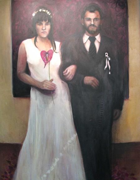 Svatba, 180 x 140 cm, akryl na plátně, 2004