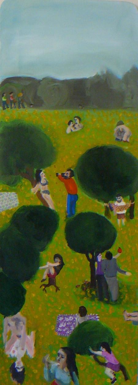 Zahrada rajských potěšení, 120 x 50 cm, akryl na plátně